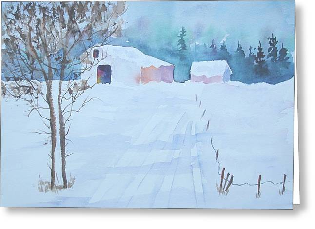 Sutton Paintings Greeting Cards - Snow in Sutton Greeting Card by Sandra Frosst