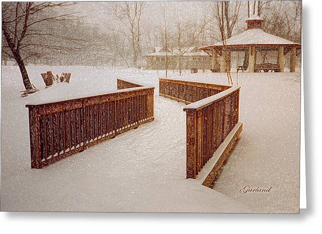 Park Scene Mixed Media Greeting Cards - Snow In The Park 3D Greeting Card by Garland Johnson
