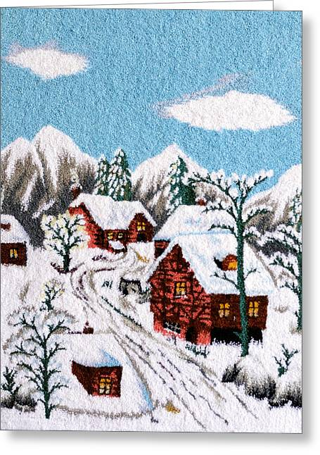 Needle Tapestries - Textiles Greeting Cards - Snow in village Greeting Card by Mimoza Xhaferi