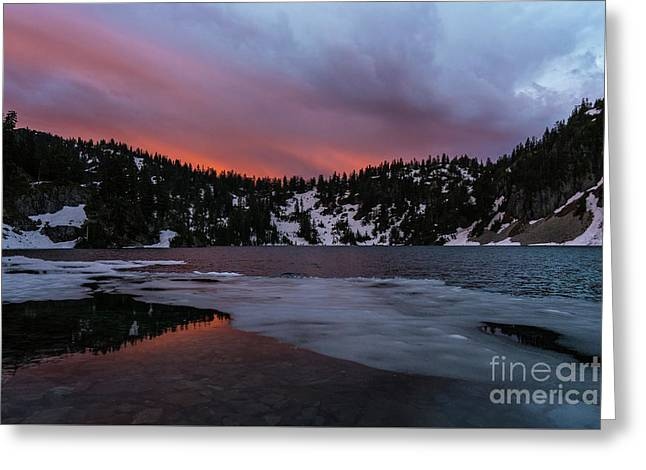Snow Lake Icy Sunrise Fire Greeting Card by Mike Reid