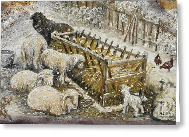 Nature Scene Paintings Greeting Cards - Snow Lambs Greeting Card by Sorin Apostolescu