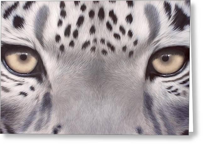 Snow Leopard Eyes Painting Greeting Card by Rachel Stribbling