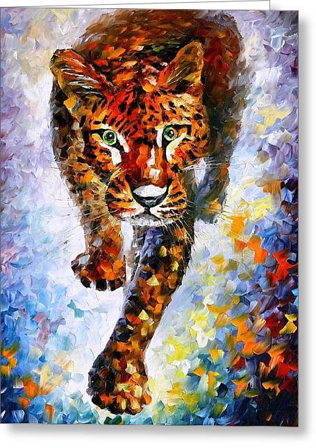 Christmas Art Greeting Cards - Snow Leopard - PALETTE KNIFE Oil Painting On Canvas By Leonid Afremov Greeting Card by Leonid Afremov