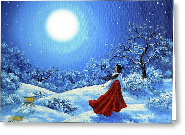Shinto Greeting Cards - Snow Like Stars Greeting Card by Laura Iverson
