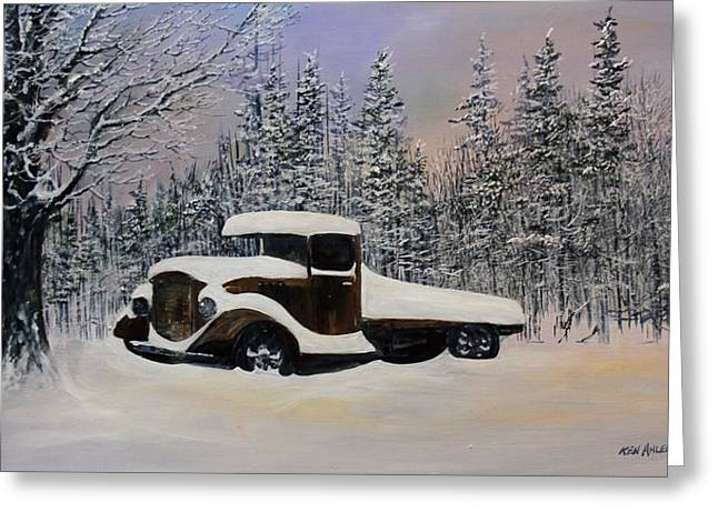 Snow Mobile Greeting Card by Ken Ahlering