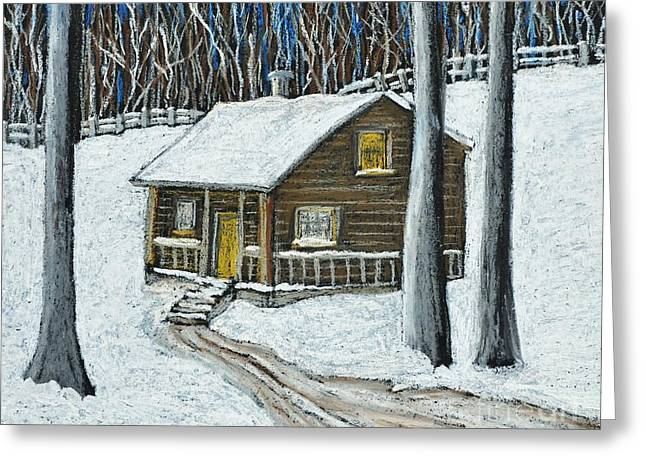 Evening Scenes Pastels Greeting Cards - Snow on Cabin Greeting Card by Reb Frost