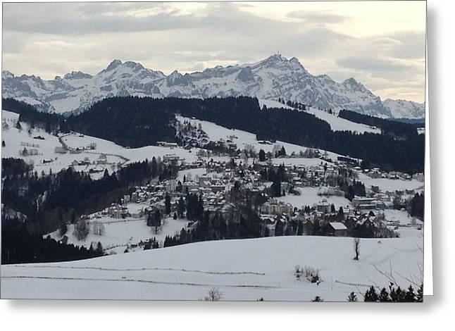 Swiss Photographs Greeting Cards - Snow on Santis Greeting Card by Manda Koepp-Piesche
