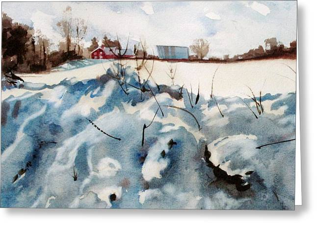 Snow on Southwick Greeting Card by Elizabeth Carr