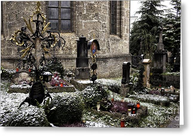 Salzburg Greeting Cards - Snow on the Graves Greeting Card by John Rizzuto