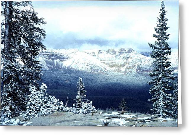 Mountain Pass Greeting Cards - Snow on the High Uintas Greeting Card by John Foote