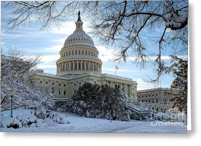 Snow On The Hill Greeting Card by John Pattenden