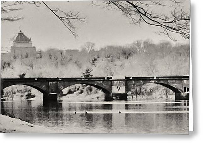 Snow on the River Greeting Card by Bill Cannon