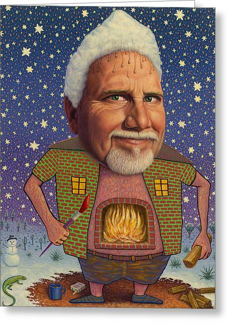 Snow On The Roof... Greeting Card by James W Johnson