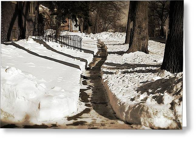 Snow Paths And Winter Shadows Greeting Card by Frank J Casella