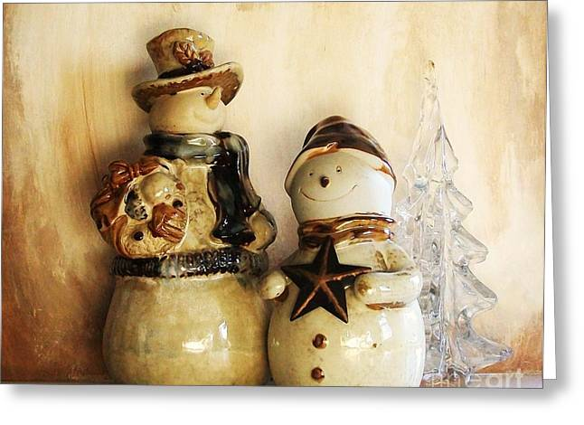 Brown Tones Greeting Cards - Snow People In Love Greeting Card by Marsha Heiken