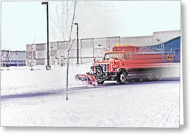 Snow Plow in Business Park 1 Greeting Card by Steve Ohlsen
