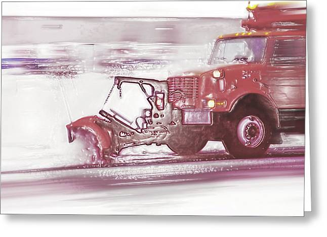 Road Crew Greeting Cards - Snow Plow in Business Park 2 Greeting Card by Steve Ohlsen