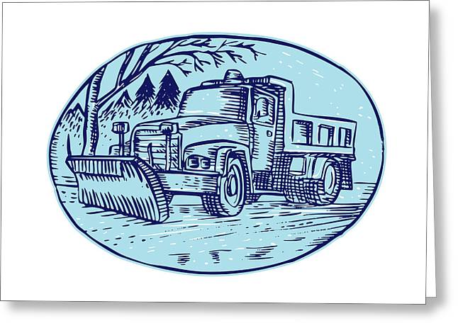 Etching Digital Greeting Cards - Snow Plow Truck Oval Etching Greeting Card by Aloysius Patrimonio