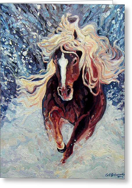 Snow Pony Greeting Card by Gill Bustamante