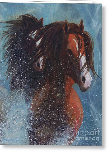 Chatham Greeting Cards - Snow Powdered Horses Greeting Card by Karen Kennedy Chatham