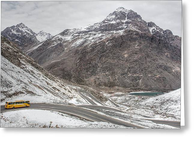 Mountain Road Greeting Cards - Snow Road Greeting Card by Eduardo Guedes