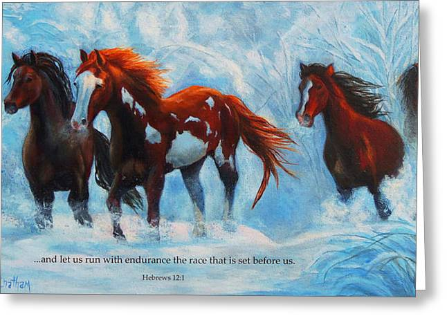 Bible Paintings Greeting Cards - Snow Run Scripture Version Greeting Card by Karen Kennedy Chatham