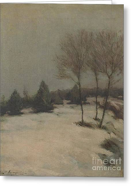 Nature Scene Paintings Greeting Cards - Snow scene Greeting Card by Celestial Images