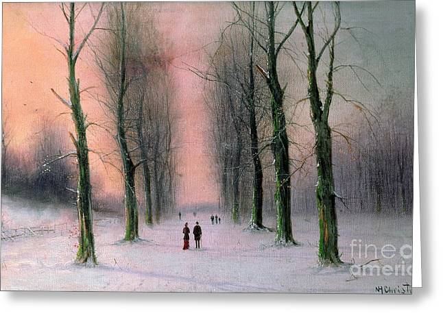 Winter Landscape Paintings Greeting Cards - Snow Scene Wanstead Park   Greeting Card by Nils Hans Christiansen