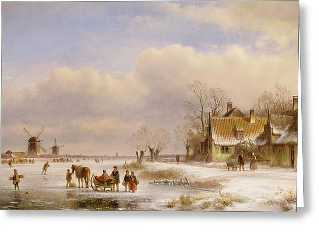 Snow Scene With Windmills In The Distance Greeting Card by Lodewijk Johannes Kleyn