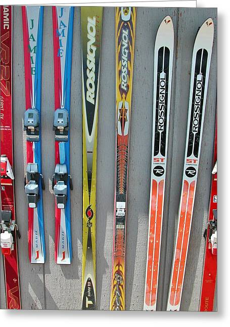Powder Greeting Cards - snow skis II Greeting Card by Jessica Craven