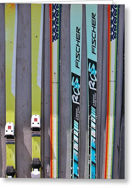 Powder Greeting Cards - Snow Skis Greeting Card by Jessica Craven