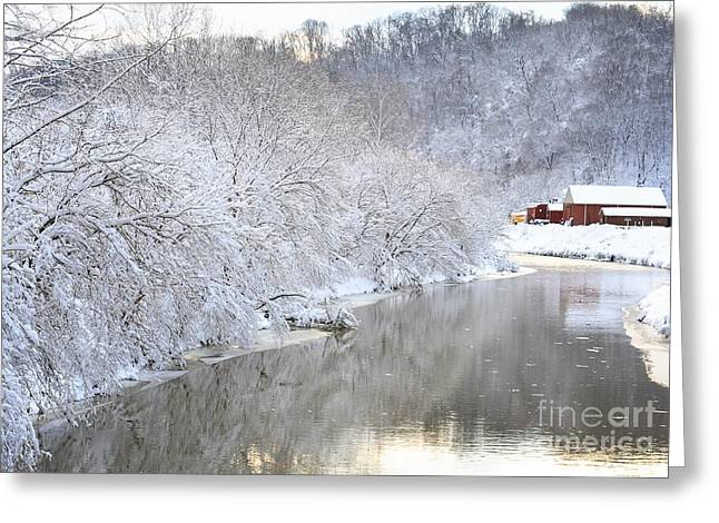 Trees Reflecting In Creek Greeting Cards - Snow Storm Greeting Card by Joan Powell