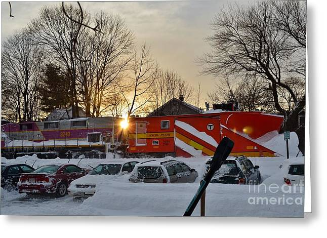 Boston Ma Greeting Cards - Snow Train in New England Greeting Card by Anne Clark
