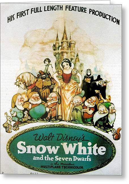 Snow White And The Seven Dwarfs Greeting Card by Georgia Fowler
