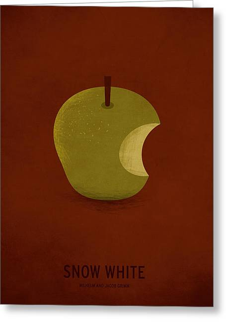 Minimalist Greeting Cards - Snow White Greeting Card by Christian Jackson