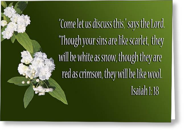Snow White Flowers Is. 1v18 Greeting Card by Linda Phelps