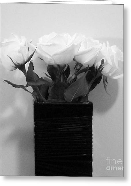 Snow White Roses Greeting Card by Marsha Heiken