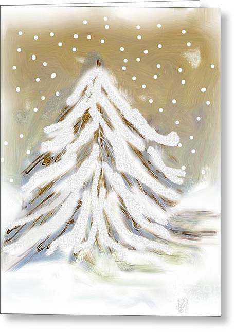 Snow Tree Prints Digital Greeting Cards - Snow White Tree Greeting Card by Marsha Heiken