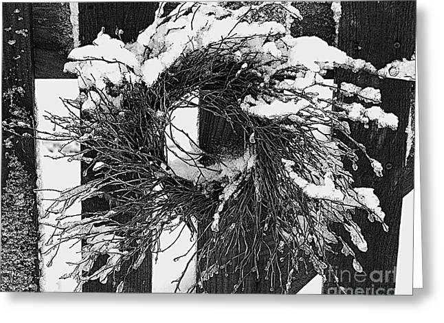 Snow Wreath Greeting Card by Diane E Berry