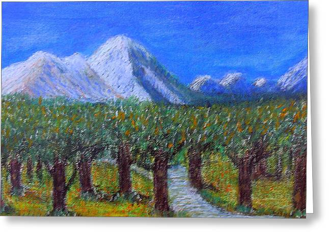 Fineart Pastels Greeting Cards - SnowBack Mountain Greeting Card by Errol DSouza