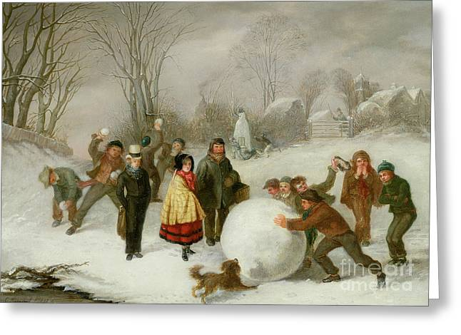 Winter Fun Paintings Greeting Cards - Snowballing   Greeting Card by Cornelis Kimmel
