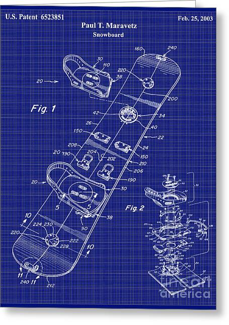 Snowboard Greeting Cards - Snowboard Patent Blueprint Drawing Lt Greeting Card by Jon Neidert