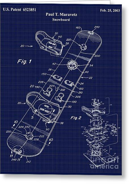 Snowboard Greeting Cards - Snowboard Patent Blueprint Drawing Greeting Card by Jon Neidert