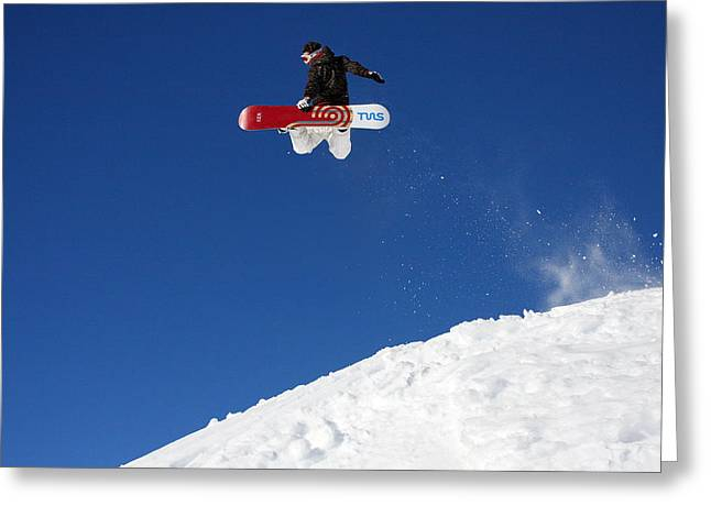 Chevalier Photographs Greeting Cards - Snowboarder in Serre Chevalier France Greeting Card by Pierre Leclerc Photography