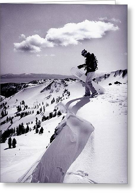 Snow Cornice Greeting Cards - Snowboarder, Squaw Valley, Ca Greeting Card by Dawn Kish