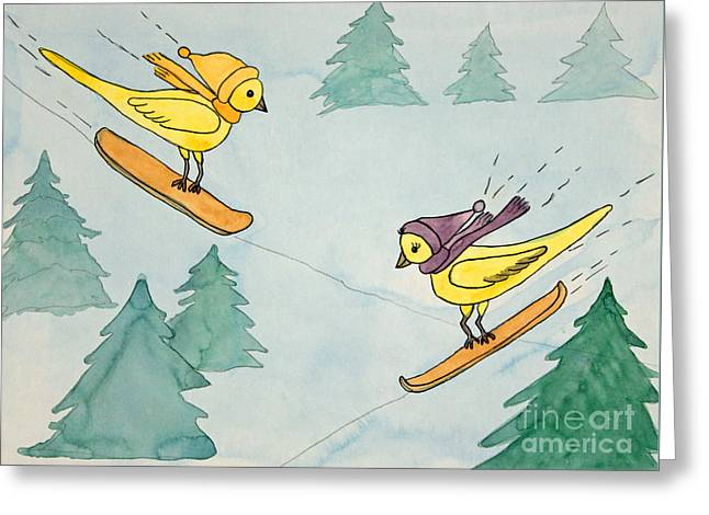 Appleton Paintings Greeting Cards - Snowboarding Birds Greeting Card by Norma Appleton