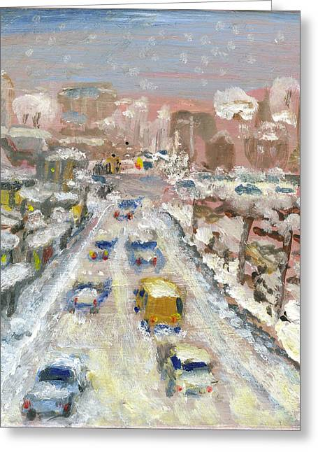 Recently Sold -  - Snow Scene Landscape Greeting Cards - Snowbound in Brooklyn  Greeting Card by Sumitra Mukerji