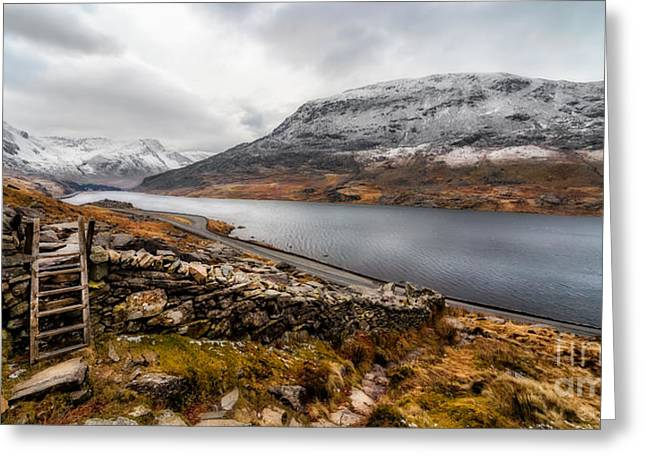 Winter Roads Digital Art Greeting Cards - Snowcapped Valley Greeting Card by Adrian Evans