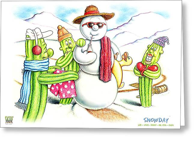 Arizona Drawings Greeting Cards - Snowday Greeting Card by Cristophers Dream Artistry