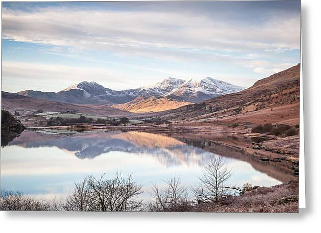 Wide Angled Glass Mirror Greeting Cards - Snowdon Horseshoe Winter Reflections Greeting Card by Christine Smart